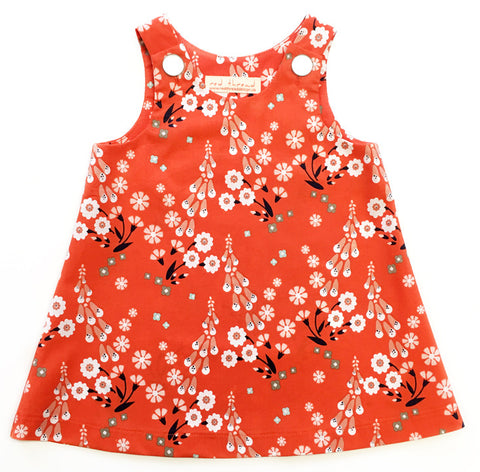 Caterpillar Dress in organic cotton for girls ages 1-3 years. made in Canada.