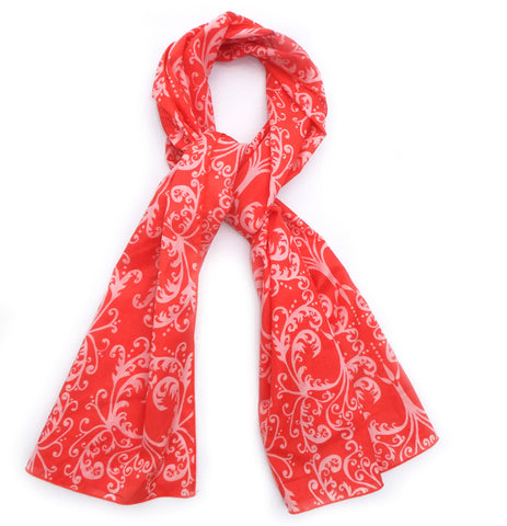 Cotton Voile Scarf in Coral