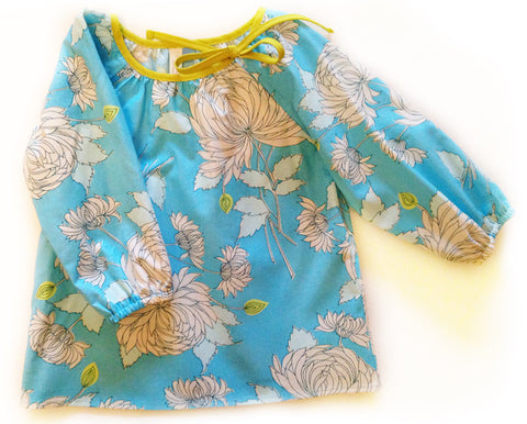 Slip-on cotton blouse - Chrysanthemums (size 4 only)