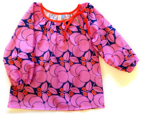 Slip-on cotton blouse - Plums