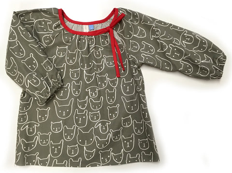 Slip-on cotton blouse - Cats & Dogs