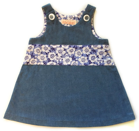 Blue Flowers Denim Caterpillar Dress