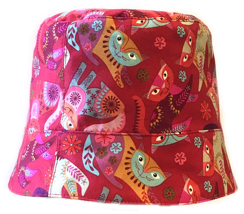 Reversible Summer Hat - Crazy Cats!