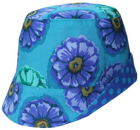 girls reversible summer hat in ocean blue by Red Thread Design