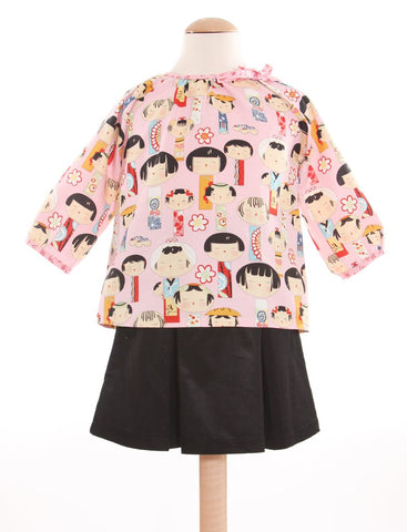 Slip-On Cotton Blouse - Kokeshi Dolls