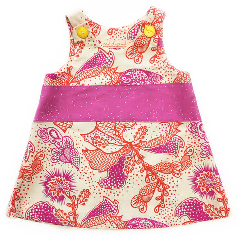 Toddler Caterpillar Dress in Pink Thistle by Red Thread, ethically made in Canada