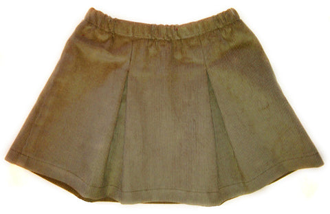 Corduroy Pleated Skirt - Chestnut