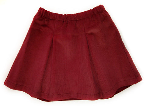 Corduroy Pleated Skirt - Rust