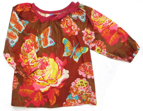 Slip-on cotton blouse - Butterflies