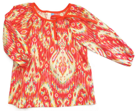 Slip-on cotton blouse - Ikat
