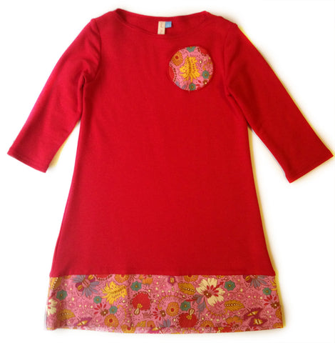 Bamboo Play Dress - red and pink (size 14 only)