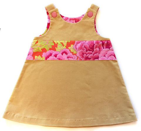 Camel Corduroy Caterpillar Dress