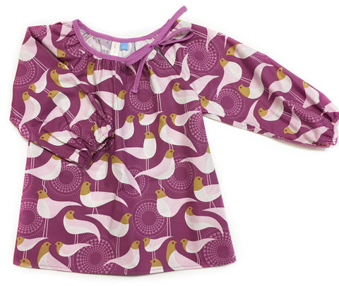 Slip-on cotton blouse - Purple Birds