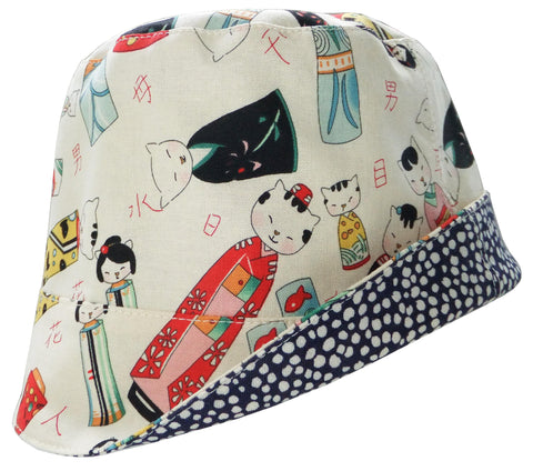 Reversible Summer Hat - Kokeshi Cats