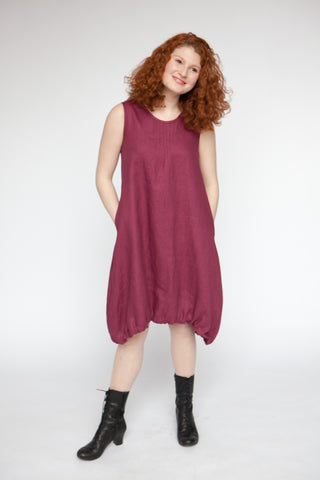 Red Thread's Linen Pintuck Dress for women, ethically made in Canada