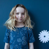 Navy dandelion girl's dress, handmade in Canada by Red Thread