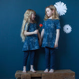 Navy dandelion tunics, handmade in Canada by Red Thread