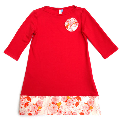 Bamboo Play Dress - red and white