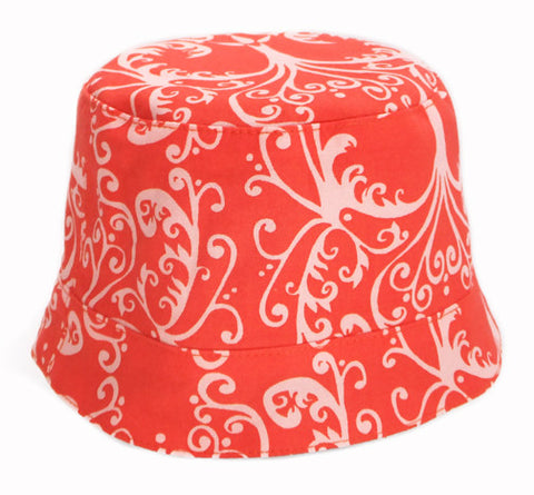 girls reversible summer hat in candy apple red by Red Thread