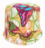 reversible girls' summer hat in multicolored butterflies by Red Thread