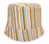 reversible girls' summer hat in multicolored butterflies with stripes
