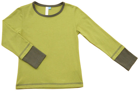 Organic Cotton Two-Tone Top in Pear/Stone
