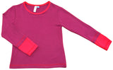 Organic Cotton Two-Tone Top in Fuschia/Hot Pink