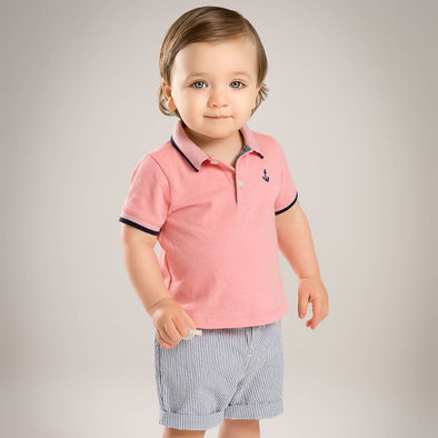 Summer Baby Boys clothing set Pink Top Grey Shorts - Littlefoot Fellows