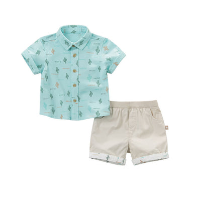 Summer Baby Boys Clothing Set - Cactus Print Shirt with Beige Shorts - Littlefoot Fellows