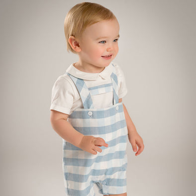 White and baby blue romper with  white shirt - Littlefoot Fellows
