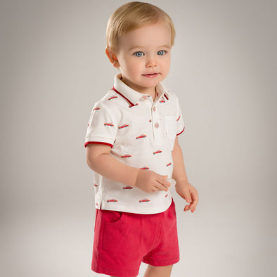 Summer Baby Boys Clothing Set -  Car Print Shirt and Red Shorts - Littlefoot Fellows