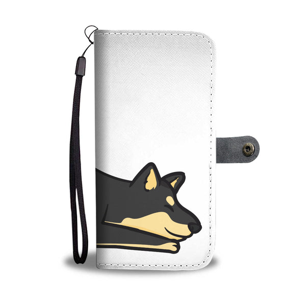 Playful Black & Tan Shiba - Wallet Case