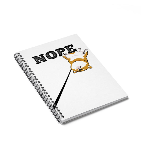 Nope Red Shiba - Spiral Notebook - Ruled Line - Stubborn Shiba Co