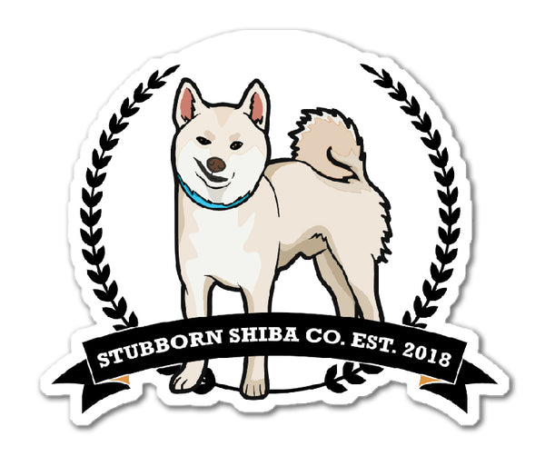 Stubborn Cream Shiba Logo - Kiss Cut Stickers