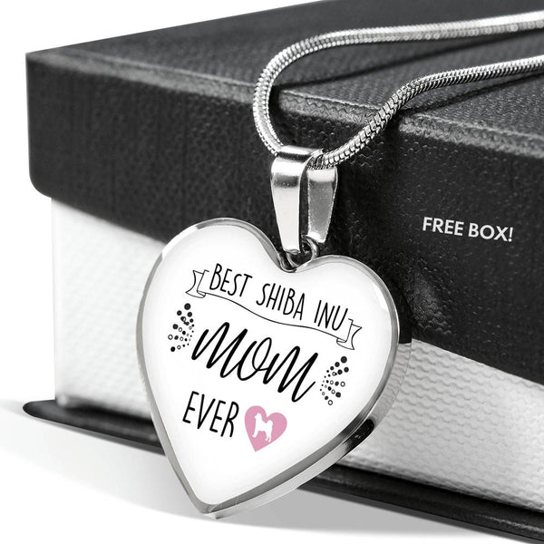 Best Shiba Inu Mom Ever Heart Pendant (White)