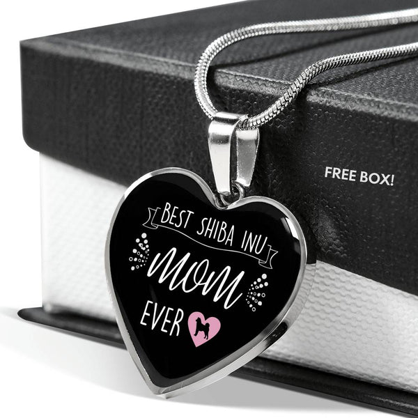Best Shiba Inu Mom Ever Heart Pendant (Black)