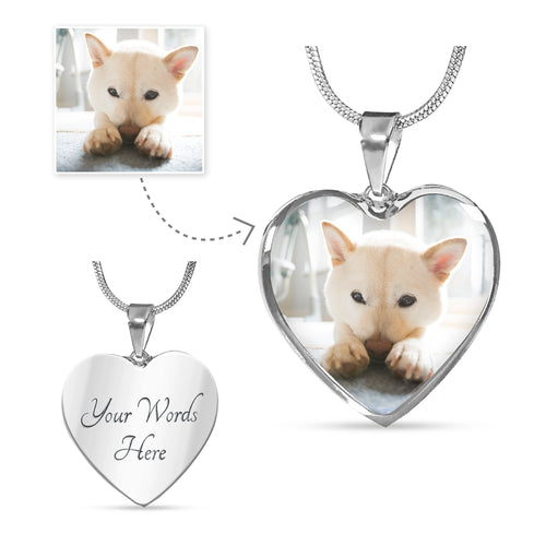 Customized Heart Pendant Necklace - Stubborn Shiba Co