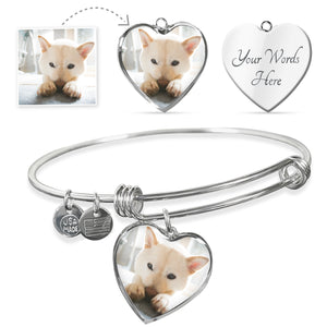 Customized Heart Pendant Bracelet - Stubborn Shiba Co