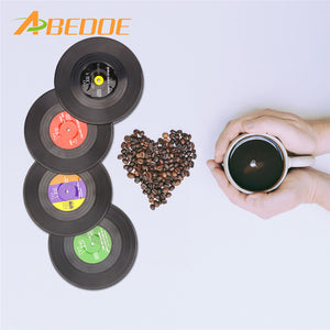 ABEDOE 4 Pcs Home Table Cup Mat Creative Decor Coffee Drink Placemat for Table Spinning Retro Vinyl CD Record Drinks Coasters