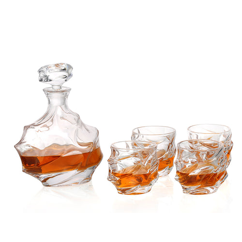 Whiskey Decanter & 6 Glasses Set - Barware Club