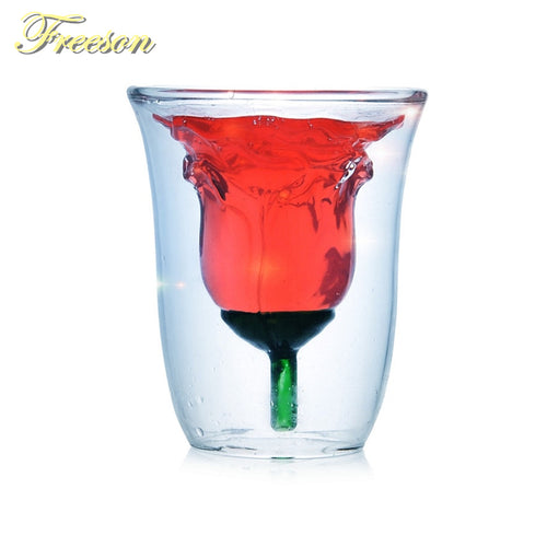 Romantic Lover Rose Beer Glass Cup 180ml Wine Champagne Double Wall Glasses Creative Whiskey Vodka Shot Glass Mug Valentine Gift