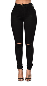 selected material dependable performance promo codes Black Cut Out Knee Jeans