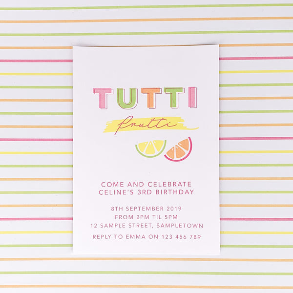 Tutti Frutti Invitation Printable | Emma Smith Stationery