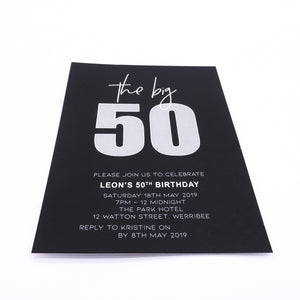 Bold black and white milestone birthday invitation. Affordable Printable. Emma Smith