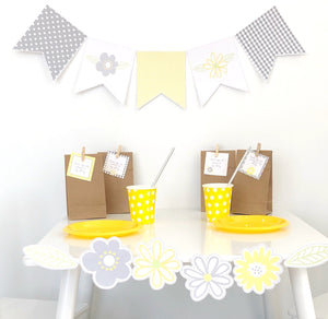 Yellow Daisy Party Decoration Printable Bunting Flag