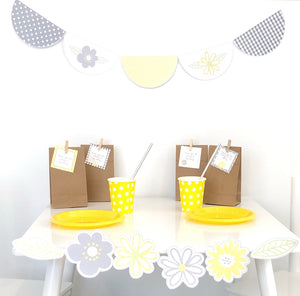 Yellow Daisy Party Decorations Printable Set - Example of Use