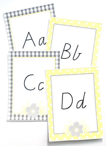 Yellow Daisy Classroom Decor Pack Printable Download Alphabet Cards