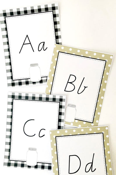 Farmhouse Theme Printable Download Classroom Decor Alphabet Cards