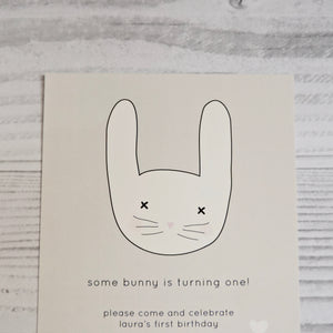 Grey Bunny Birthday Party invitation. Affordable Printable. Emma Smith