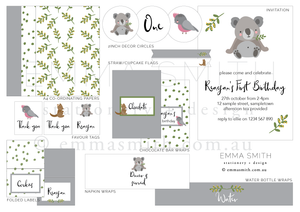 Cute Australian Animals All Inclusive Party Decor Printable Download | Emma Smith Event Stationery